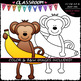 Monkeys With Fruit - Clip Art & B&W Set