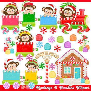 Monkeys and Candies Clipart Set