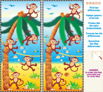 Monkeys and Coconuts Find the Differences Visual Puzzle, Commercial Use Allowed