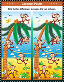 Monkeys and Coconuts Find the Differences Visual Puzzle, C