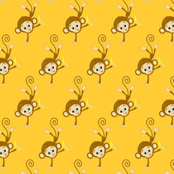 Monkeys, bananas, Christmas, New Year, digital paper freebie!