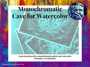 Monochromatic Cave with Watercolor Worksheet