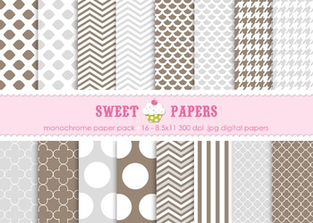 Monochromatic Dots, Stripes and Chevron Digital Paper Pack - by Sweet Papers