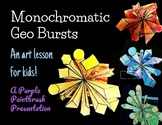 Monochromatic Geo Shapes: A Mixed Media Art Lesson for Kids!