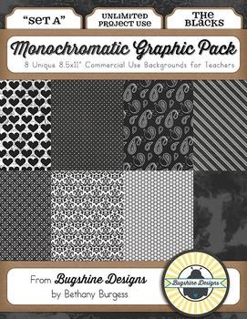 Monochromatic Graphic Pack: Set A {The Blacks}