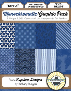 Monochromatic Graphic Pack: Set A {The Blues}
