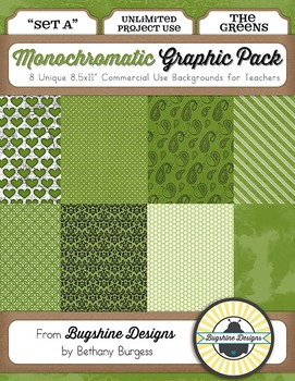 Monochromatic Graphic Pack: Set A {The Greens}