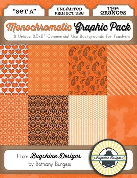 Monochromatic Graphic Pack: Set A {The Oranges}