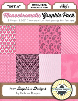 Monochromatic Graphic Pack: Set A {The Pinks}