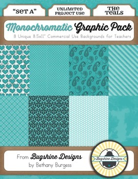 Monochromatic Graphic Pack: Set A {The Teals}