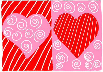 Monochromatic Hearts to teach positive and negative space on Valentine's Day