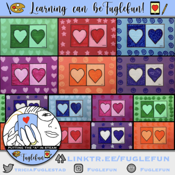 Monochromatic Hearts to teach positive and negative space