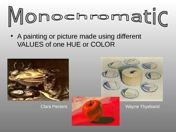 Monochromatic Value lesson with activity