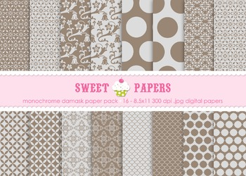 Monochrome Damask Digital Paper Pack - by Sweet Papers