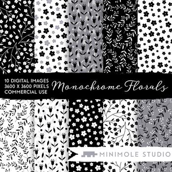 Monochrome Flowers Patterns Digital Paper, Black White Flowers