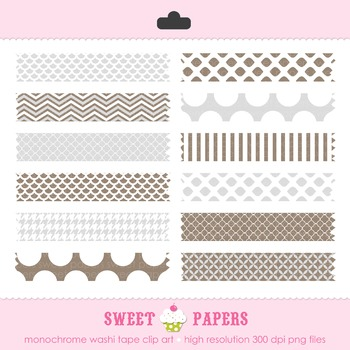 Monochrome Washi Tape Digital Clip Art Set - by Sweet Papers