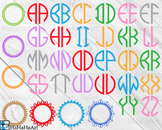 Monogram Alphabet 2 letters - Clip Art and Cutting Files Digital Files cod70c