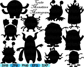 Monogram Cute Monsters clip art svg Silhouettes animals Halloween Space -161s