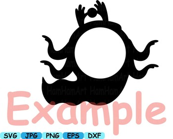 Monogram Cute Monsters clip art svg Silhouettes animals Halloween Space -162s