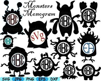 Monogram Cute Monsters clip art svg Silhouettes animals Ha