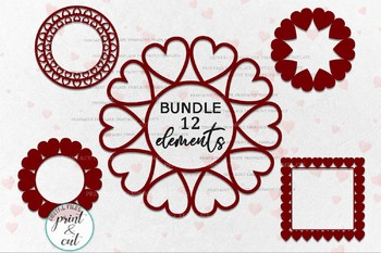 Monogram Heart Hearts Bundle Circle Round Square Frame Svg Dxf Cut Out Files