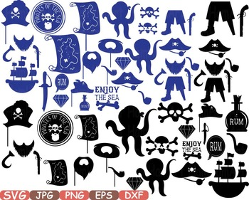 Monogram Silhouettes Pirate's Pirate Props Clip art blue ship map love 188s