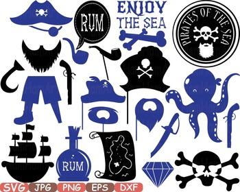 Monogram Silhouettes Pirate's Pirate Props Clip art blue s