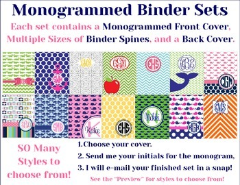 Monogrammed Binder Set - You Choose The Style, I Personalize It!