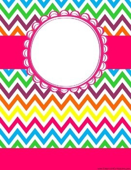 Monogrammed Notebook Cover - Cute Rainbow Chevron