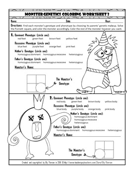 Monohybrid Cross Punnett Square Genetics Coloring Worksheet Set with Monsters