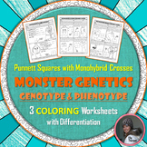 Monohybrid Cross Punnett Square Genetics Coloring Worksheet Set with Monsters