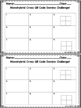 Monohybrid Crosses QR Code Dominoes