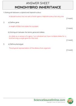 Monohybrid Inheritance - Handout and practice questions