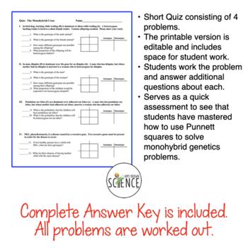 Monohybrid Quiz or Homework (One-Factor Genetics Problems) by Amy ...