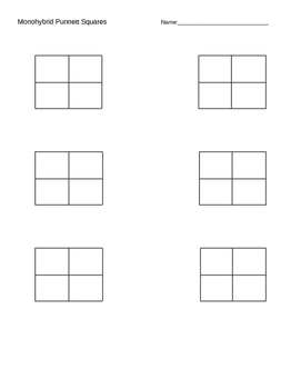 monohybrid and dihybrid punnett square template by nicole mcelhaney. Black Bedroom Furniture Sets. Home Design Ideas