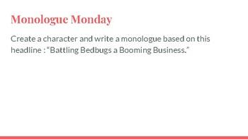 Monologue Monday Bell Work