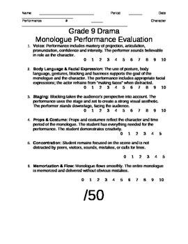 Monologue Performance Evaluation