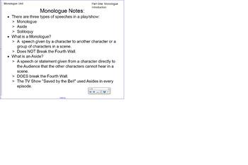 Monologue Unit Part One