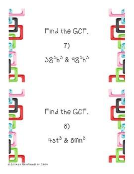 Monomial Greatest Common Factor Task Cards (pre-algebra)