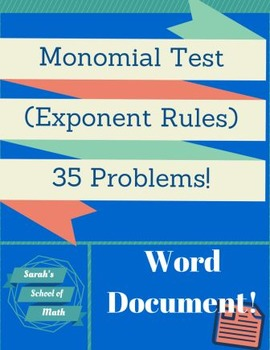 Monomial (Exponent Rules) Test