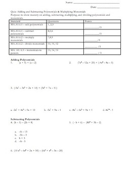 Multiply & Divide Monomials and Add & Subtract Polynomials Quiz