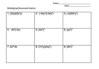 Mulitply & Divide Monomial and Add & Subtract Polynomial Stations
