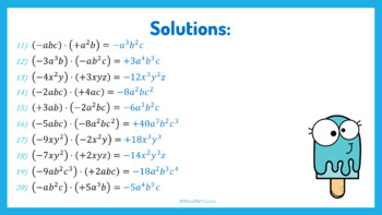 Distance Learning - Math Monomials
