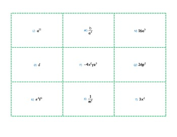 Monomials Algebra War and Memory Games