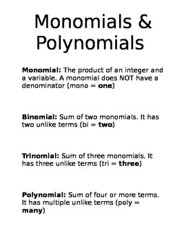 Monomials & Polynomials Definition Notes