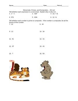 Monomials, Primes, Composites Worksheet
