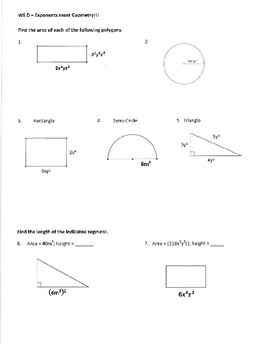 Monomials and Exponents - Notes and Practice Worksheets