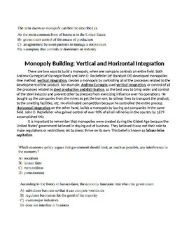 Monopoly Building Vertical and Horizontal Integration Monopolies