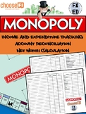 Cashflow Tracker and Net Worth Calculation Activity   Suitable for Monopoly