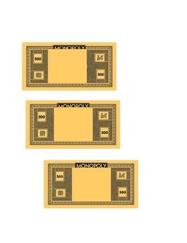 """EDITABLE """"Monopoly"""" Money"""